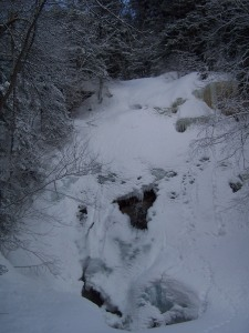 This waterfall had an interesting hole where you could see the water behind the snow