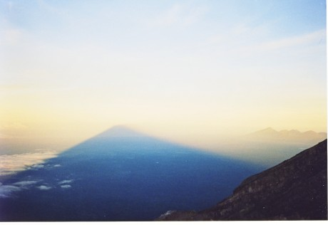 Shadow of Agung at sunrise from summit