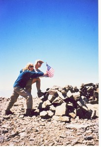 Bob and I conquered the summit with an American flag we found on top.