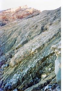 The lava flow seems frozen in time