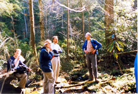 (From left) A visiting hiker, Jenny, Steve Higdon, Charlie Klabunde