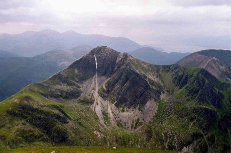 Stob Ban in the Mamores, one of the peaks probably used as a model by John Buchan
