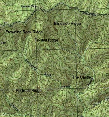 Part of the headwater streams and ridges of Bradley Fork.