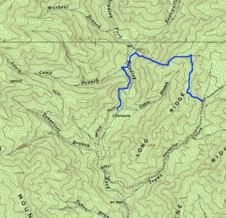 The route we ended up taking. We dropped down to the valley of Taywa Creek to hit the Bradley Fork trail.
