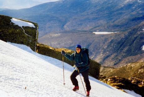Adam tackles upper slopes of Lafayette.