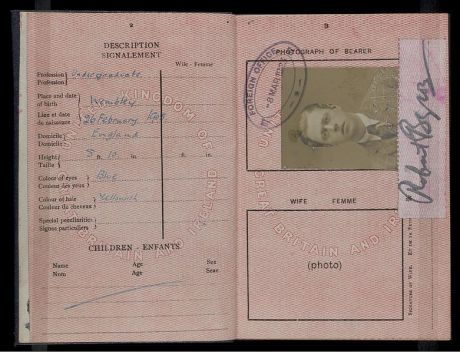 Passport of Robert Byron from his student days.
