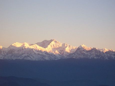 The Kanchenjunga massif as seen from Darjeeling.