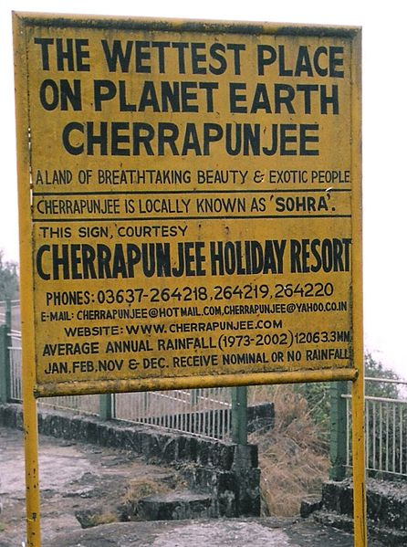 Sign at Cherrapunjee, India.