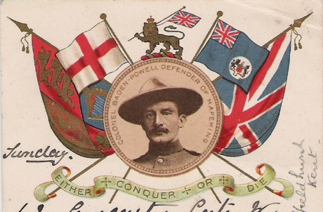 Postcard showing Colonel Baden Powell, circulated after the siege ended.