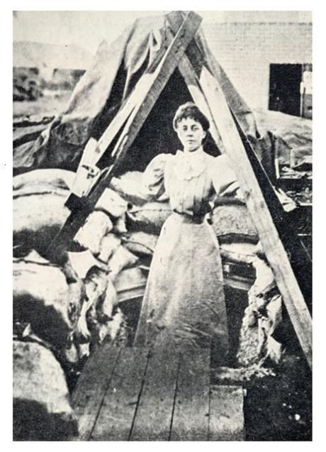 Lady Sarah at the entrance to her bomb-proof.
