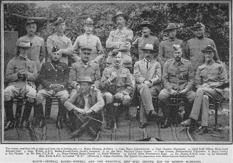 Baden-Powell (center front) and staff