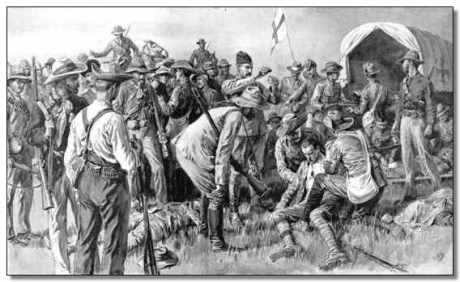 """A Gleam of Sunshine Between the Storms."" Wilson wrote, ""The Boers on this occasion crowded around the British wounded with sympathetic interest."""