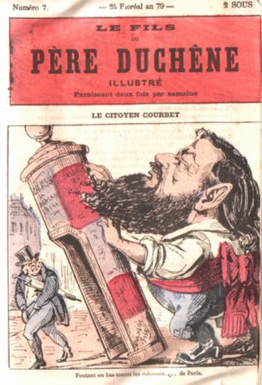 "Caricature of Gustave Courbet toppling a ""Rambuteau column"" (urinal)"