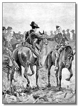 Meeting of Baden-Powell and Mahon. Drawing by H.C. Seppings Wright.