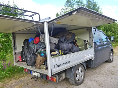 Christian's truck loaded with our packs.