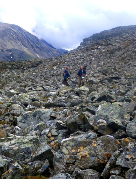 Toiling across the talus field.