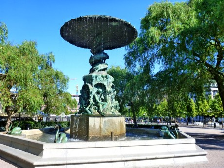 Fountain with statues of swans.