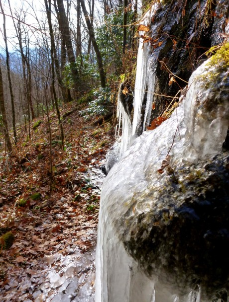 The flow of water is frozen in time. Wait a minute---I mean, it's actually frozen.