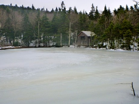 Typical New England pond in winter.