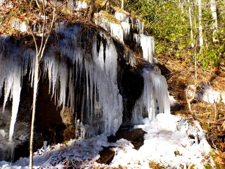 Big icicles close to waterfall.
