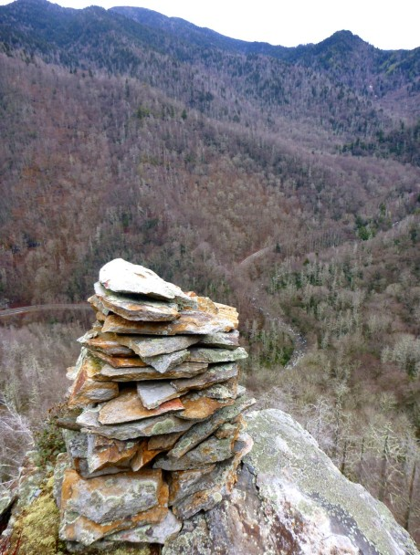 The second-best cairn in the Smokies. A great one, only outdone by the one on Porters Creek manway.
