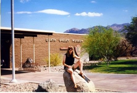 Jenny at the Death Valley Museum, where a thermometer told us it was 124 degrees.