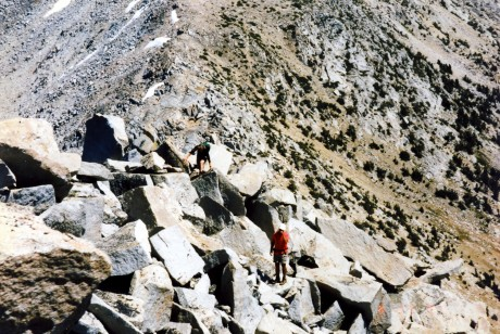Bob and I climb up the boulderfields.