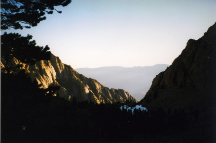 Dawn on the lower Mount Whitney trail. These rocks reminded me of Maxfield Parrish rather than Dr. Seuss.