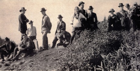 This was taken on a trip to LeConte Oct. 18-19, 1924, when these hikers agreed to establish the SMHC. Click for zoom.