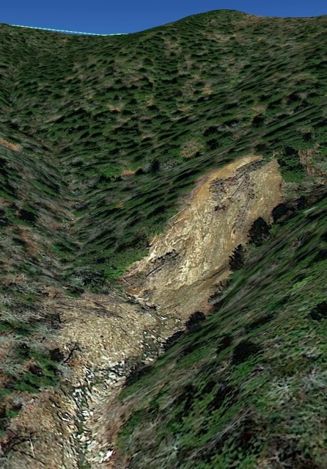 Tilted image of the upper landslide. Courtesy of Don Casada.